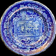 "English Staffordshire Historic Dark Blue Transferware plate ""Doric Villa Regent's Park"" London Views"