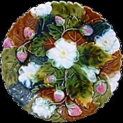 Beautiful Antique Majolica Scalloped edge Strawberry decorated plate.