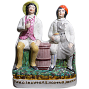 Antique Victorian, circa 1892 Staffordshire figure of Tam O' Shanter and his friend Scouter Johnnie - Red Tag Sale Item