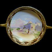 Hand Painted Nippon Bowl 2 gold handles, painted border, Arabian scene