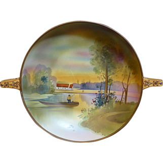 Hand Painted Nippon Bowl with 2 Moriage handles, and painted border, with small Moriage dots, a Lake Scene