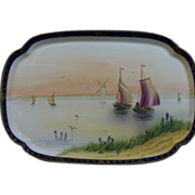 Beautiful hand painted Nippon rectangular dresser tray of a sail boat on a lake with a windmill in the background - Red Tag Sale Item