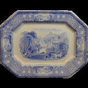 "Beautiful Light Blue English transfer decorated platter ""Shannon pattern"""