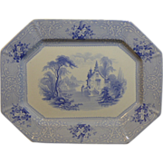 "Beautiful Light Blue English Ironstone transfer decorated platter marked on the back in blue ""Roselle, J. Meir & Son"