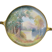 "Beautiful Pickard Vellum ""Enchanted Forest"" Hand Painted Donatello dish by E Challinor"