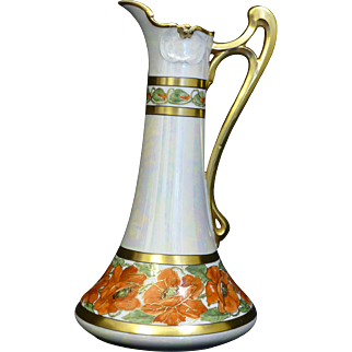 Outstanding Elite France Limoges Hand painted Ewer. Heavy gilded details on a remarkable white pearl background, with beautiful orange poppies outlined in gold