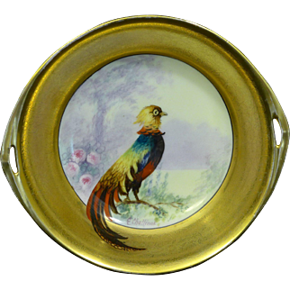 "Rare Pickard Hand Painted Dish with a center medallion of a ""Golden Pheasant"""