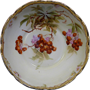 "Beautiful Pickard Hand Painted Scalloped edge ring-footed bowl with a ""Red Current Sprays and Pink Flower Blossom"" design."