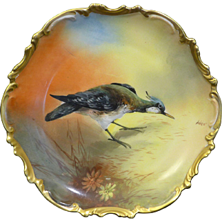 Outstanding hand painted Limoges Flambeau China Game Bird plate.