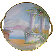 "Amazing Pickard Hand Painted Open handled Vellum Cake plate in the ""Classic Ruins"" design"