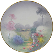 "Magnificent Pickard Hand painted Vellum plate in the"" Walled Garden"" Design."