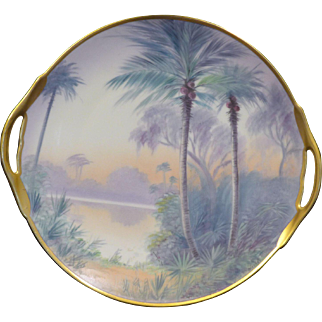 "Fantastic Pickard Vellum open handled cake plate in the ""Florida Lagoon"" design"