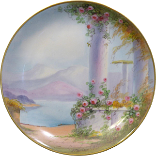 "Amazing Pickard Hand Painted Open handled Vellum plate in the ""Classic Ruins"" design"