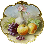 Beautiful Limoges hand painted Fruit and floral decorated charger