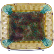 Beautiful Antique Majolica Dish with a Basket weave and Bamboo design