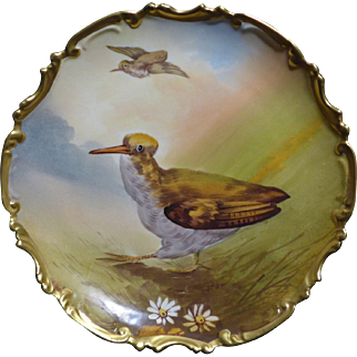 Outstanding hand painted Limoges Flambeau China Game Bird plate