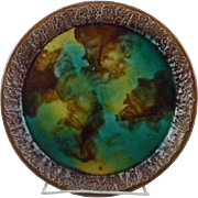 Rare Cake Plate in Green, Yellow & Brown mottled ground with a dark brown bark rim and border