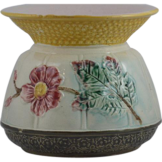 Antique Victorian Majolica Spittoon in the wild rose pattern