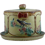 Antique Victorian Majolica Cheese Keeper