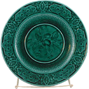 Beautiful Dark Green French Sarregumines Majolica Strawberry plate.