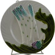 Beautiful Antique French Salins-Les-Bains majolica Asparagus plate