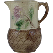 Antique Floral and basket weave pattern Majolica Pitcher