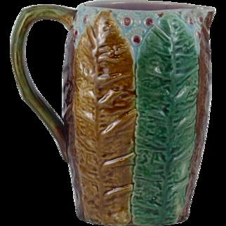 Rare Antique Victoria Majolica Tobacco leaf pitcher