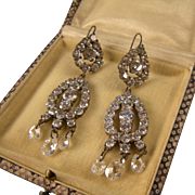 Radiant Crystals Chandelier Earrings, Sterling, Spectacular Vintage