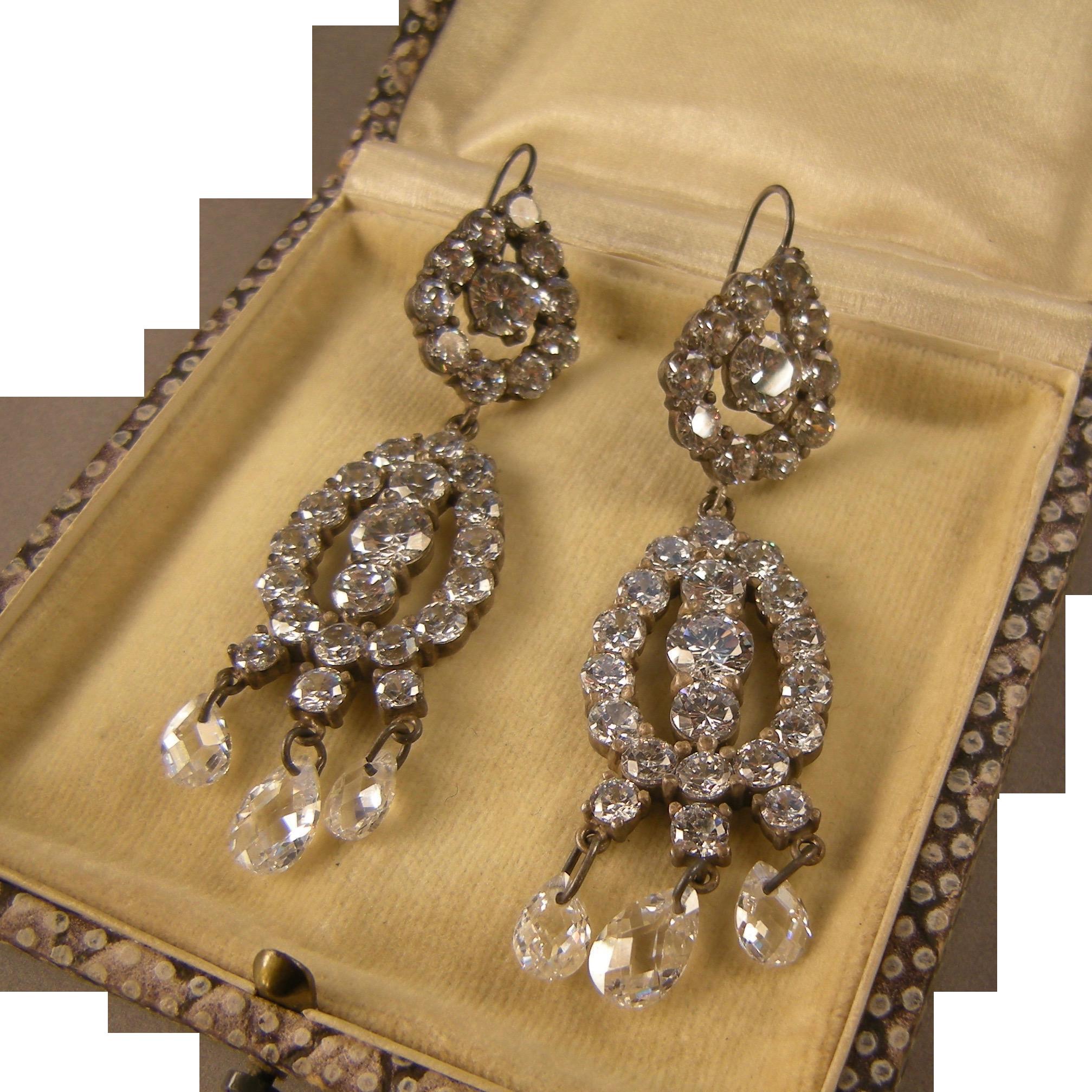 Radiant Crystals Chandelier Earrings, Sterling, Spectacular Vintage