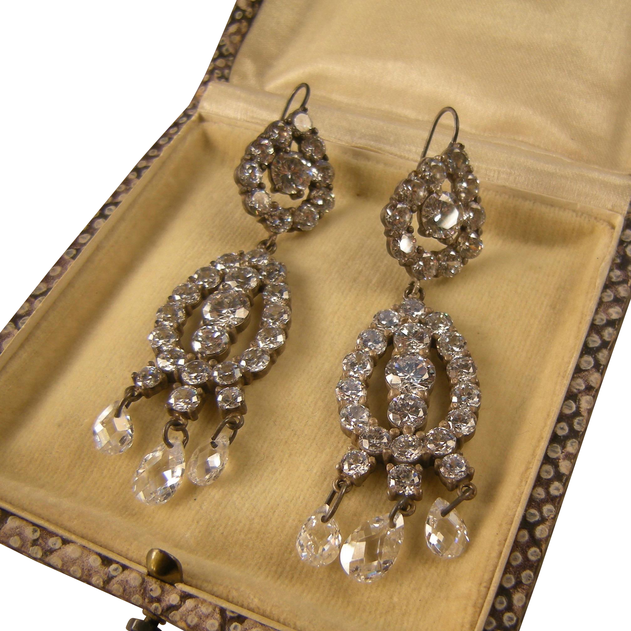 Radiant Rhinestone Crystals Chandelier Earrings, Sterling Silver, Spectacular Vintage