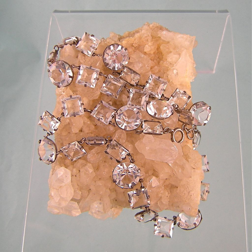 Dazzling Art Deco Round and Square Crystals Necklace in Sterling