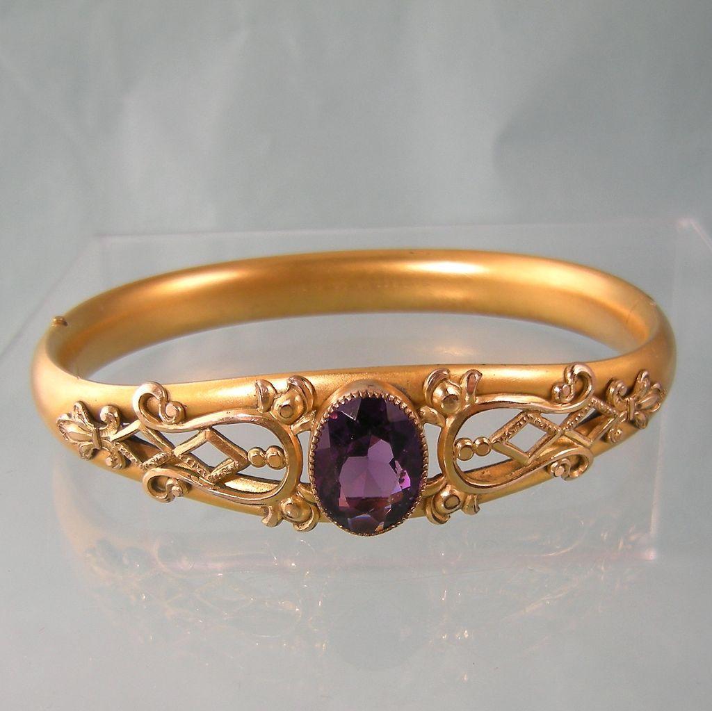Edwardian Bangle Bracelet with Amethyst Glass and Embellishments, Marked 1908