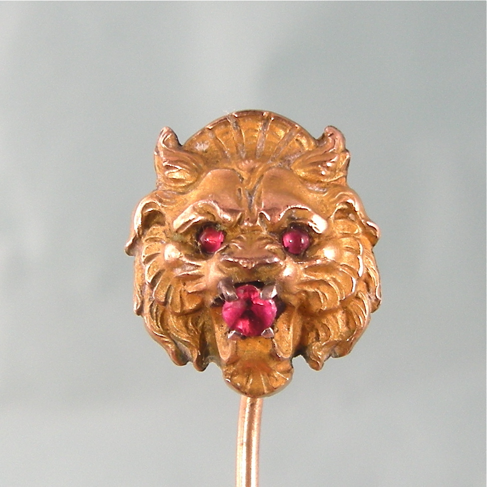 Lion's Head Victorian Stick Pin, Nicely Detailed, French Marks