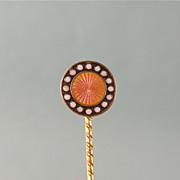 Antique Victorian Cravat Pin, or Stickpin, Brilliant Guilloche Enamel