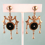 Ornate Victorian Revival Earrings c1950, Long and Large