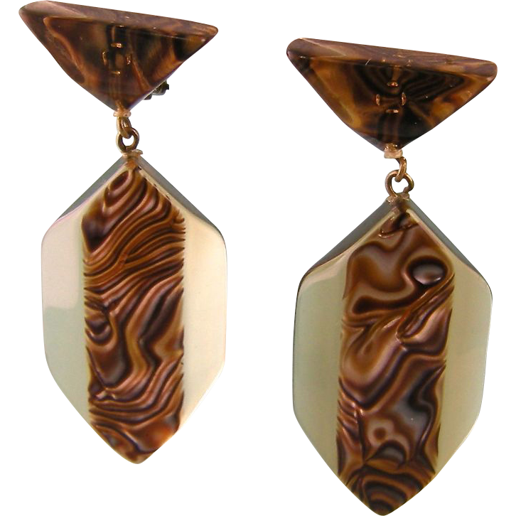 Large Psychedelic Lucite Earrings, 1970s Europe