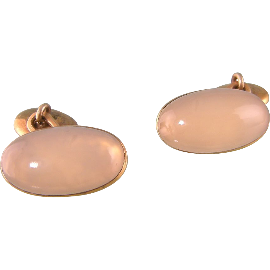 Art Deco Natural Chalcedony Cufflinks