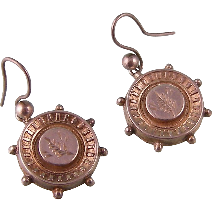Antique Victorian Sterling Silver Earrings, Hallmarked 1881