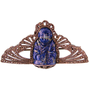 Art Deco Buddha Brooch in Lapis, Sterling, and Marcasites, Made in France, Fine Details