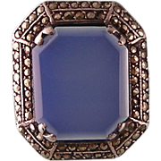 Blue Chalcedony Sterling Ring, Art Deco Germany, with Marcasites