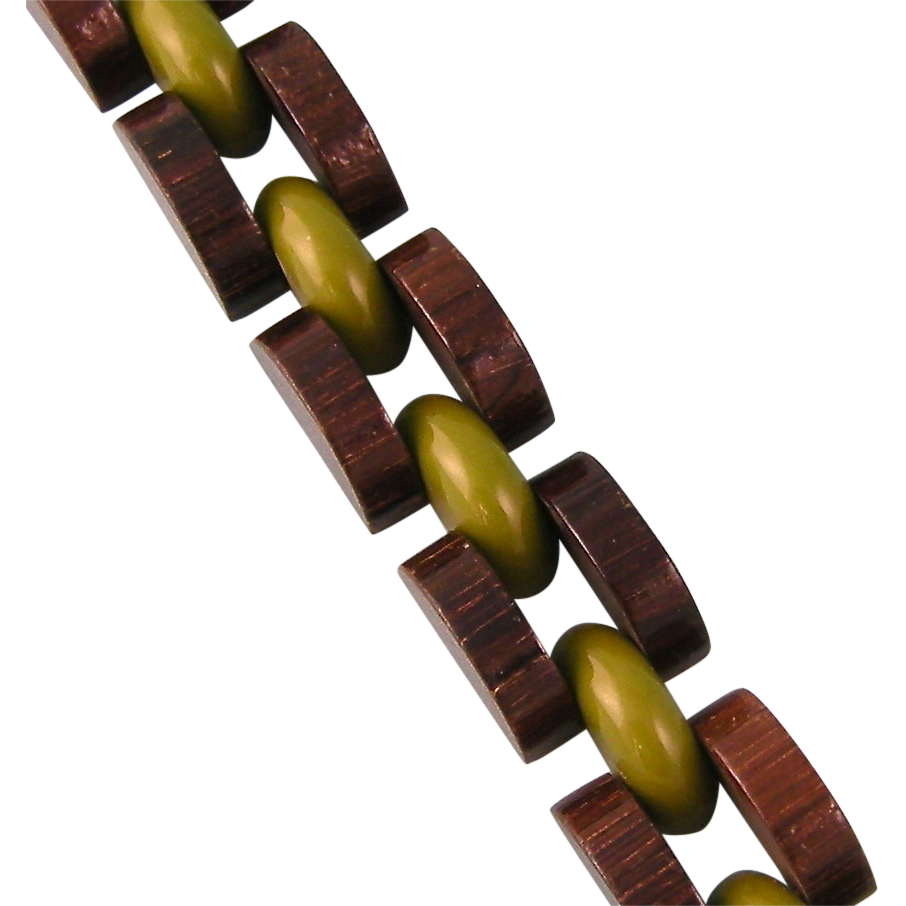 Vintage Wood and Bakelite Link Bracelet