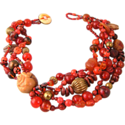 Vintage Bead Necklace in Orange with Netsuke Monkey and Stones
