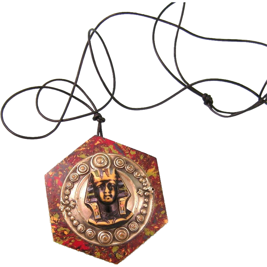 Art Deco Elaborate Celluloid and Brass Pendant with Pharaoh, Egyptian Revival 1920s