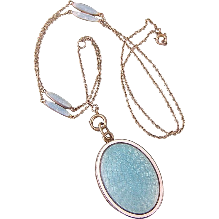 Antique Edwardian Blue and White Guilloche Enamel, Double-Sided Locket in Gold Wash Over Sterling, and Chain
