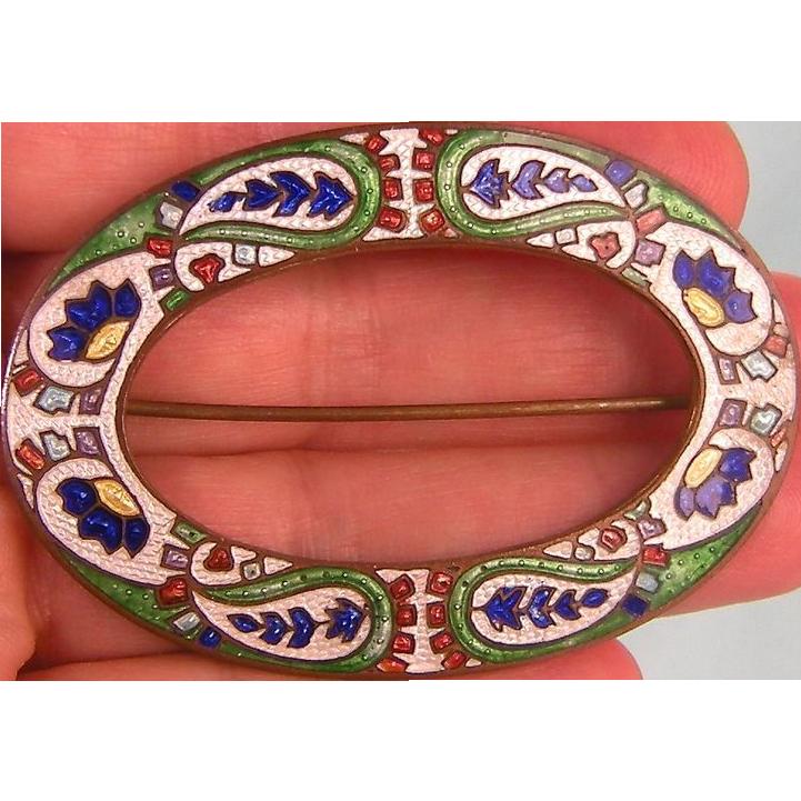 Antique Guilloche Enamel Sash Pin, Boteh Motif, Brilliant Colors and Patterns, c1905