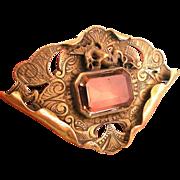 George N. Steere Sash Pin Brooch with Dragon, Citrine Glass Stone, Ornate Engraving