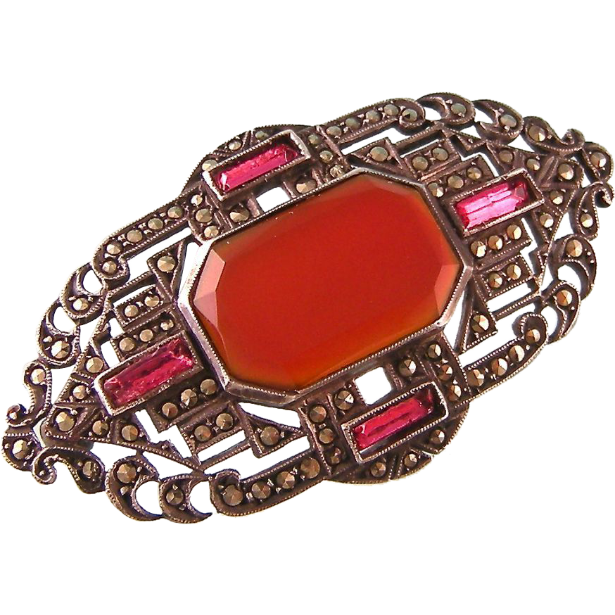 Art Deco Carnelian and Marcasite Brooch, Ruby Red Baguettes, Sterling Germany