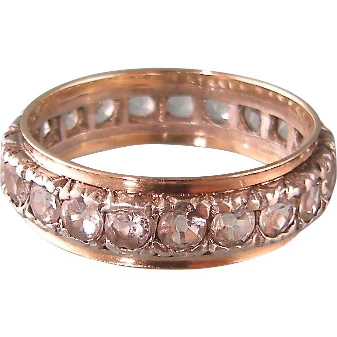 Sparkling Pastes Antique Eternity Ring in 9ct Gold and Silver