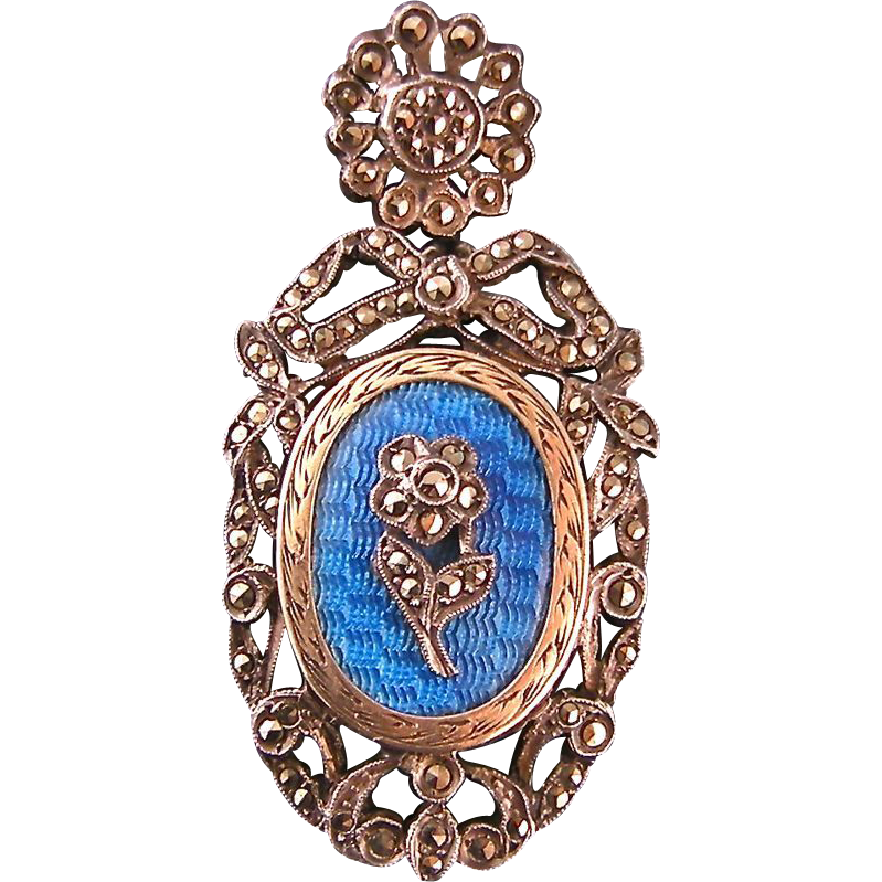 Exquisite Art Deco Locket, Blue Guilloche Enamel and Marcasites, in Sterling Silver and Vermeil, Made in France