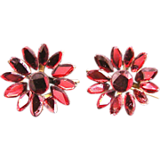 Antique Brilliant Red Vauxhall Glass Flower Earrings